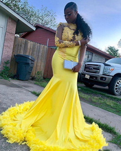 Yellow Mermaid Prom Dresses 2020 New Feathers Long Sleeves Dubai Evening Dress Elastic Satin Party Pageant Gowns Black Girl