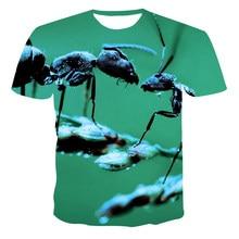 Erkek yaz yeni karınca hayvan 3D baskılı tişört rahat gevşek kısa kollu o-boyun nefes büyük boy boyutu özelleştirilebilir