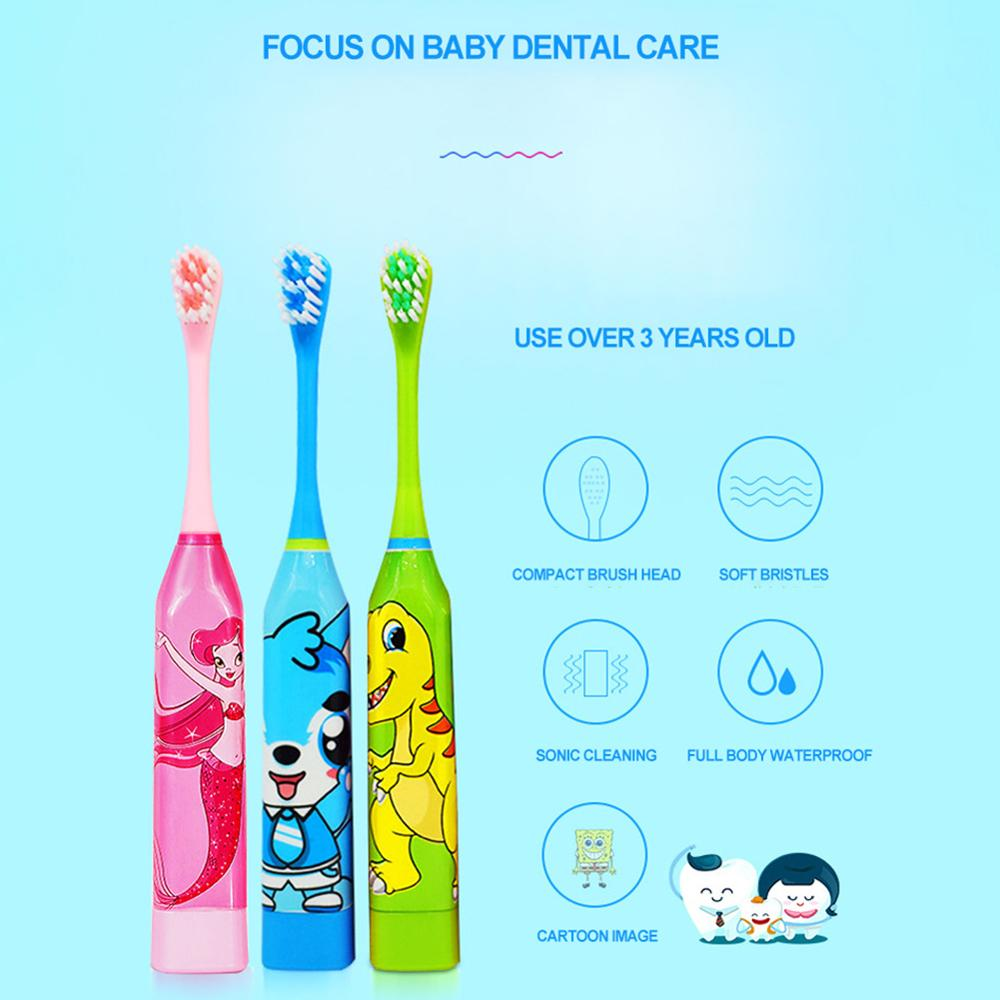 Children Electric Toothbrush Cartoon Pattern Waterproof Tooth Brush Oral Cleaning Home Soft Hair Toothbrush Double-sided Clean image