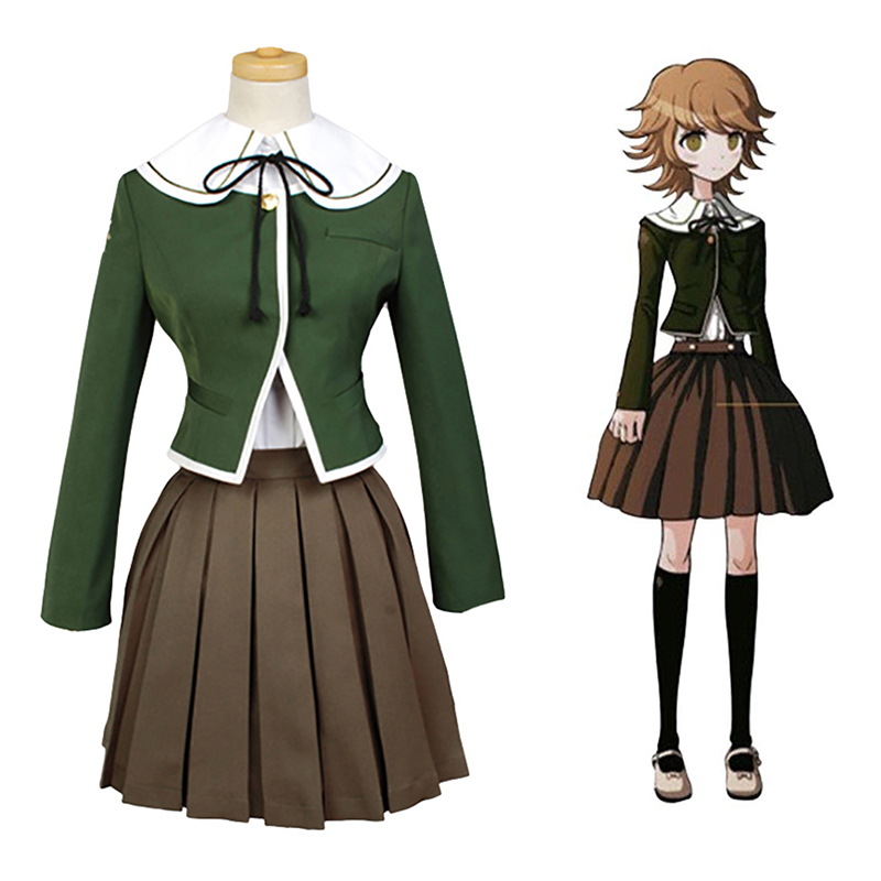 Anime Danganronpa Fujisaki Chihiro School Uniform Coat Shirt Dress Outfit Cosplay Costumes for Women Girls