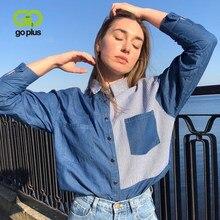 GOPLUS femmes Chemise bleu Blouse vêtements pour Haut pour Femme 2021 col rabattu Patchwork Denim Blouses chemises Haut Chemise Femme