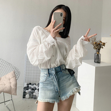 New A-line high waist button front and back denim shorts for women