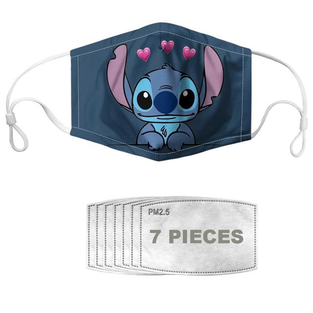 NOISYDESIGNS Kids Mouth Masks Stitch Printed Cartoon Reusable Boys Girls Children's Face Cover Mascaras Enfant Mascarillas 2
