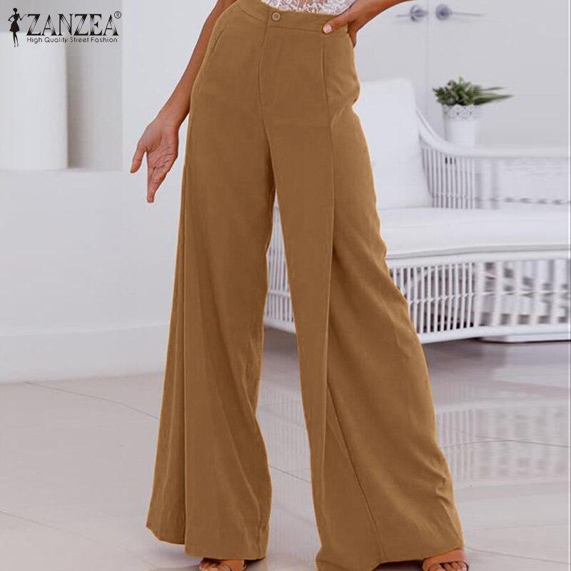 ZANZEA Wide Leg Pants Women 2020 Fashion Ladies Casual Solid Long Trousers High Waist Loose Pantalones Streetwear Sweatpants 5XL