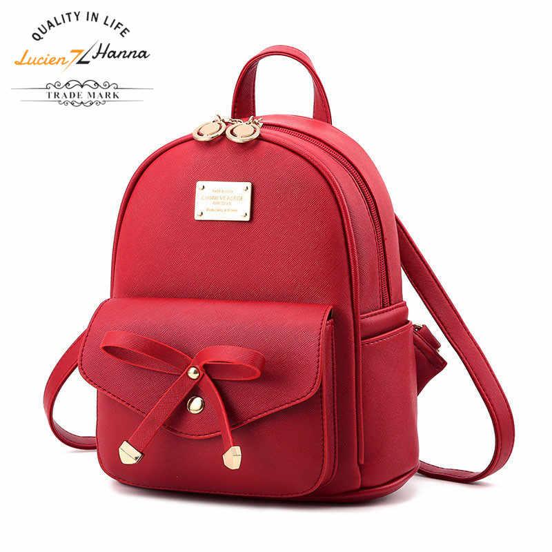 เยาวชนน่ารักมินิกระเป๋าไหล่สีแดง Bow โรงเรียนกระเป๋าสำหรับวัยรุ่น PU หนังกลับแพ็คกระเป๋าเป้สะพายหลังเด็กผู้หญิงสวยกระเป๋าเป้สะพายหลัง