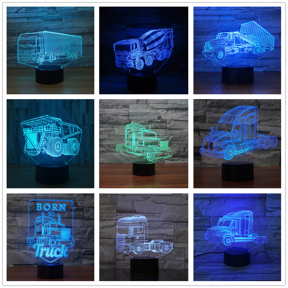 Container Truck 3D Led Light Lamp 7 Color Change Touch Remote Usb Table Lampara Lampe Fire Engine Lorry Engineering Vehicle