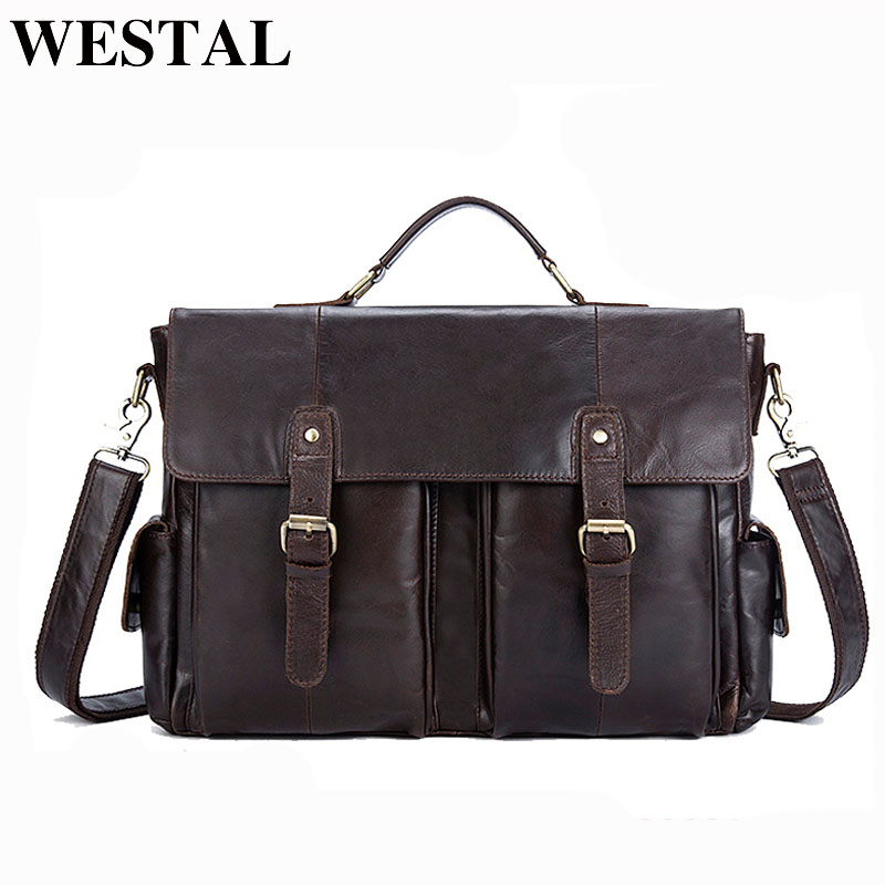 WETSAL Men's Briefcases Genuine Leather Office Bags For Men Bag For Document Laptop Bag Leather Men Briefcase For Lawyer 8913