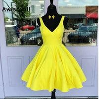Custom made V neck Satin Evening Short Dress A Line Cheap Homecoming Dress Juniors Graduation Dress Vestido Curto