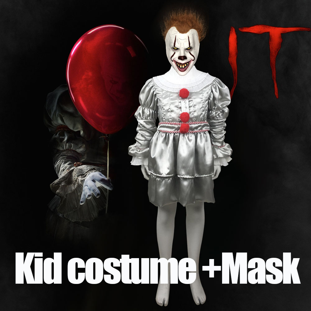 Kids Joker Pennywise Cosplay Costume Mask Stephen King It Chapter Two 2 Horror Clown Halloween Kid Party Costumes Props 2019