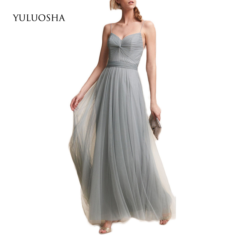 YULUOSHA Sexy Prom Dresses Sleeveless Spaghetti Strap A-Line Evening Dresses Long Party Wear Cheap Vestidos De Fiesta 2020