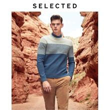 SELECTED New Mens Wool Stitching Pullovers Winter New Round Neck Sweater S