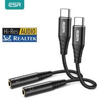 ESR DAC Typ C 3,5 Jack Adapter USB C zu 3,5mm Adapter Kopfhörer Audio Kabel Für iPad Pro 11 samsung S20 S21 AUX Konverter