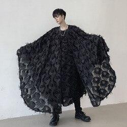 Мужской пуловер с длинным рукавом в стиле летучая мышь, плащ-рубашка, мужская и женская уличная одежда в готическом стиле, одежда для сцены