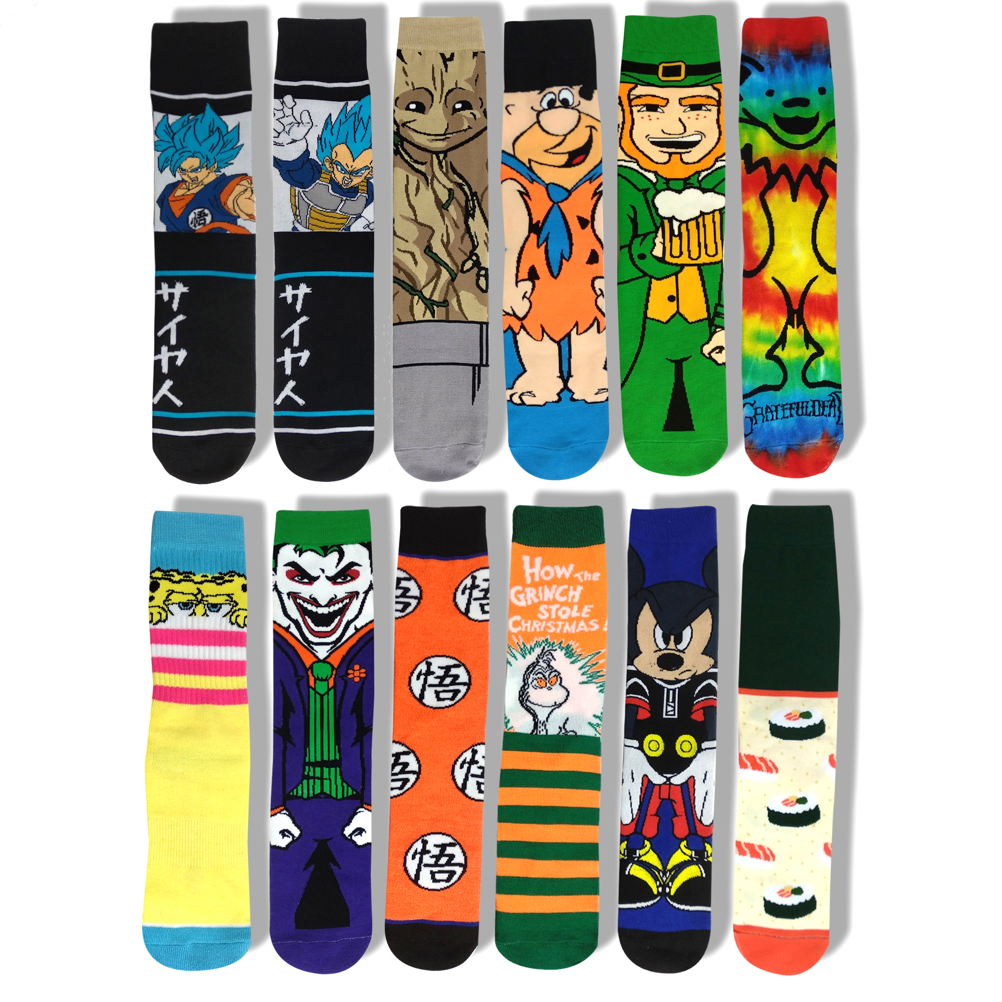 Cartoon Character Socks Joker Grinch Cosplay Personalized Novelty Dragon Ball Socks Casual Cute Colorful Women Skateboard Socks