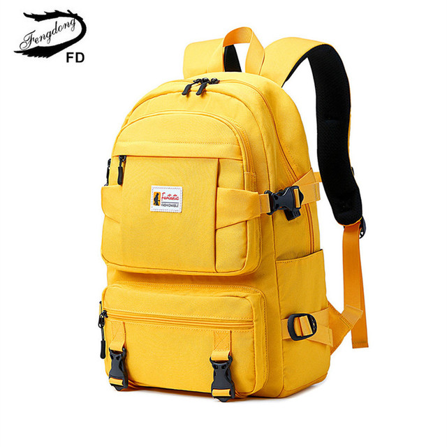 Fengdong fashion yellow backpack children school bags for girls waterproof oxford large school backpack for teenagers schoolbag 2