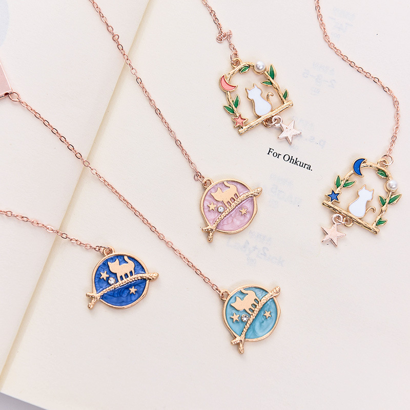 Fortune Stationery Blue Metal Cartoon Pendant GIRL'S Heart Bookmark Hipster Pendant Students Book Holder