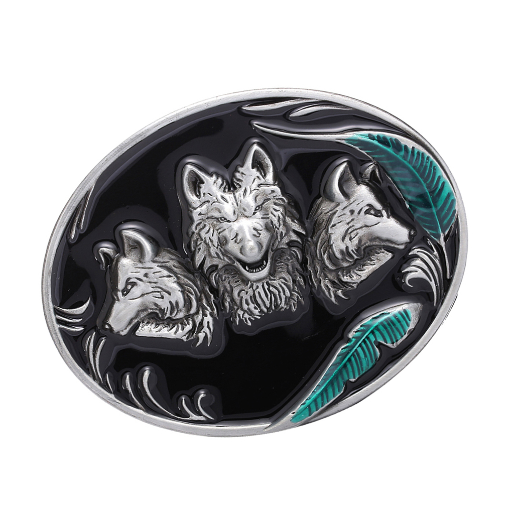 Western Cowboy Metal Belt Buckle Rodeo Silver 3D Wolf Head Animal Buckle Animal Wolf Belt Buckle For Mens Accories