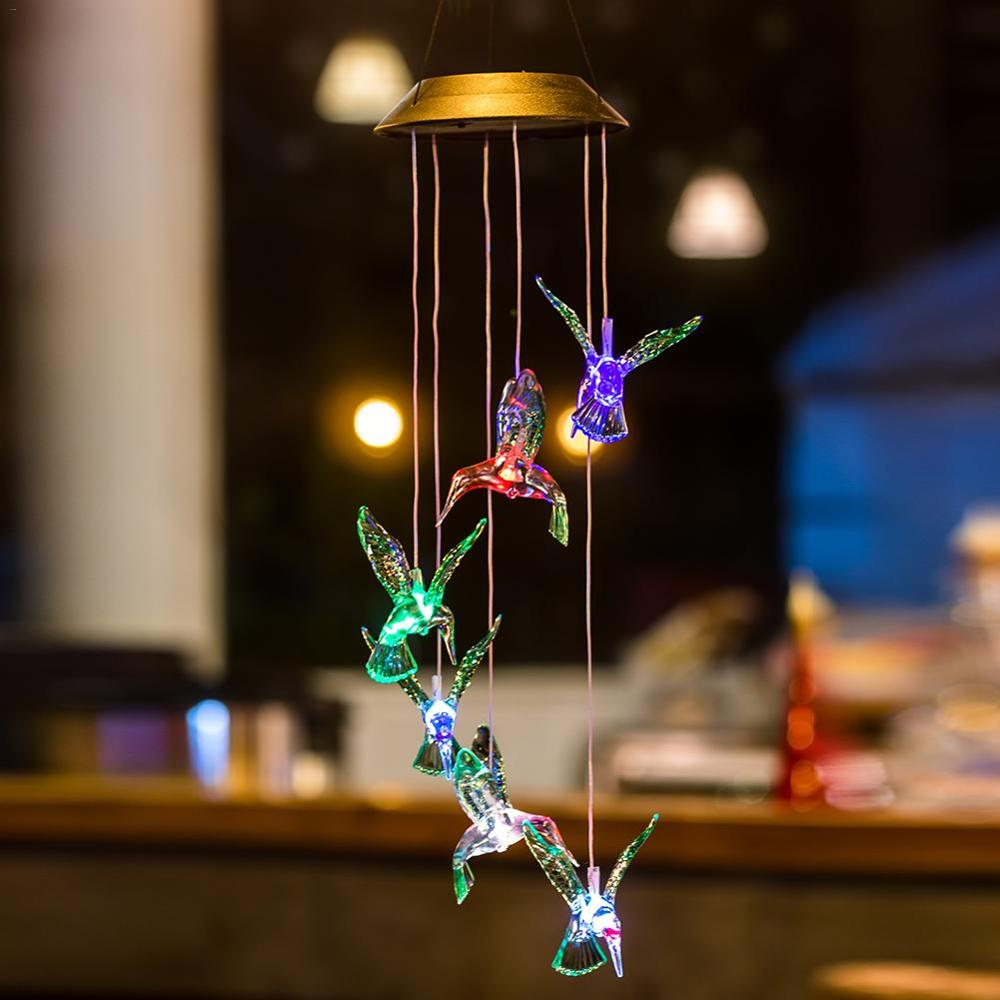 Hummingbird LED Light Wind Chime Color-Changing Solar LED Waterproof Hummingbird Wind Chimes