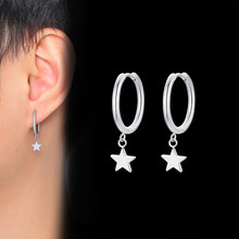 Vnox petit cerceau boucles d'oreilles pour hommes femmes acier inoxydable cercle avec étoile goutte décontracté unisexe Huggie boucles d'oreilles
