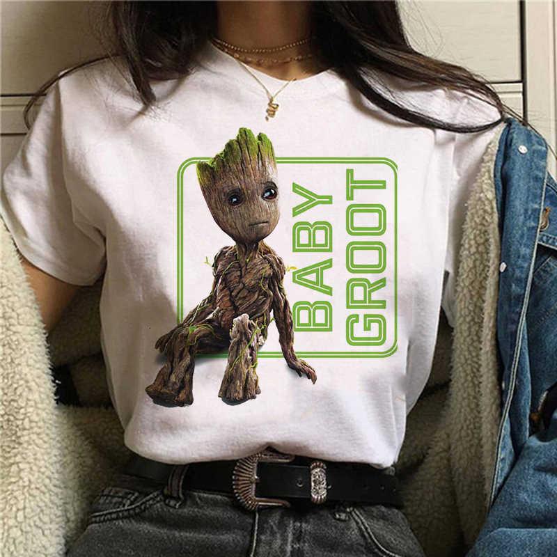 Tシャツかわいい Bady Groot プリントユニセックストップトップス男性/女性 Tシャツティーおかしいファッション流行漫画アニメ Tシャツ原宿クロ