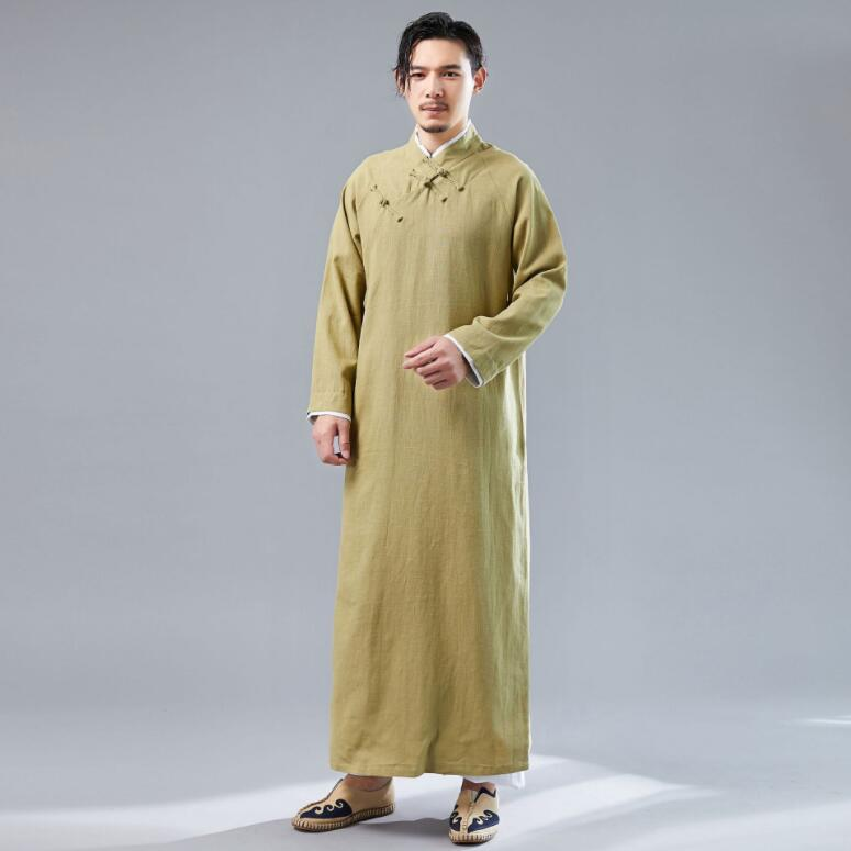 High quality Light and breathable Chinese vintage Pure color simple long robe  Men's comfortable soft cotton  linen crossed