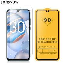 9D протектор экрана из закаленного стекла для Huawei Honor 30i LRA-LX1 6,3 дюймов с уровнем твердости 9H 2.5D Противоударная защитная пленка из закаленного ...