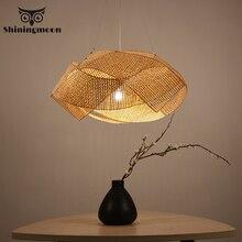 цена на Southeast Asia Creative Pendant Lights Chinese Classical Hand Knitted Bamboo Hanglamp Luminaire Suspension LOFT Art Hanging Lamp