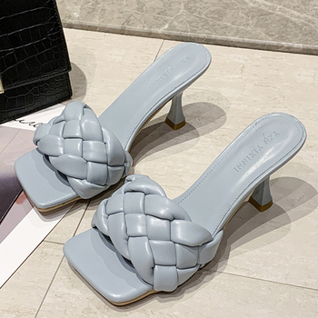 Elegant Women Pumps Individual Weave Leisure Set Foot Office Ladies Shoes Charm Square Head Lady Slippers Casual Women's Shoes