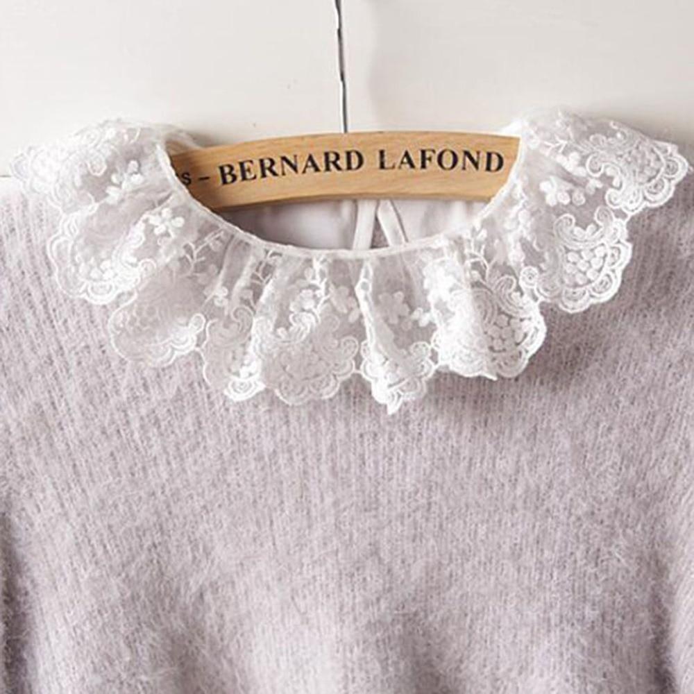 2019 New Cute Lace White Cotton Detachable Collars False Collar Ladies Fake Collar Decorative Neck Tie Women Necktie Gift