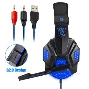 Image 2 - Profesyonel Led ışık bas oyun için mikrofon ile kablolu kulaklık anahtarı PS4 bilgisayar üzerinde oyun kulaklıklar için XBox PC