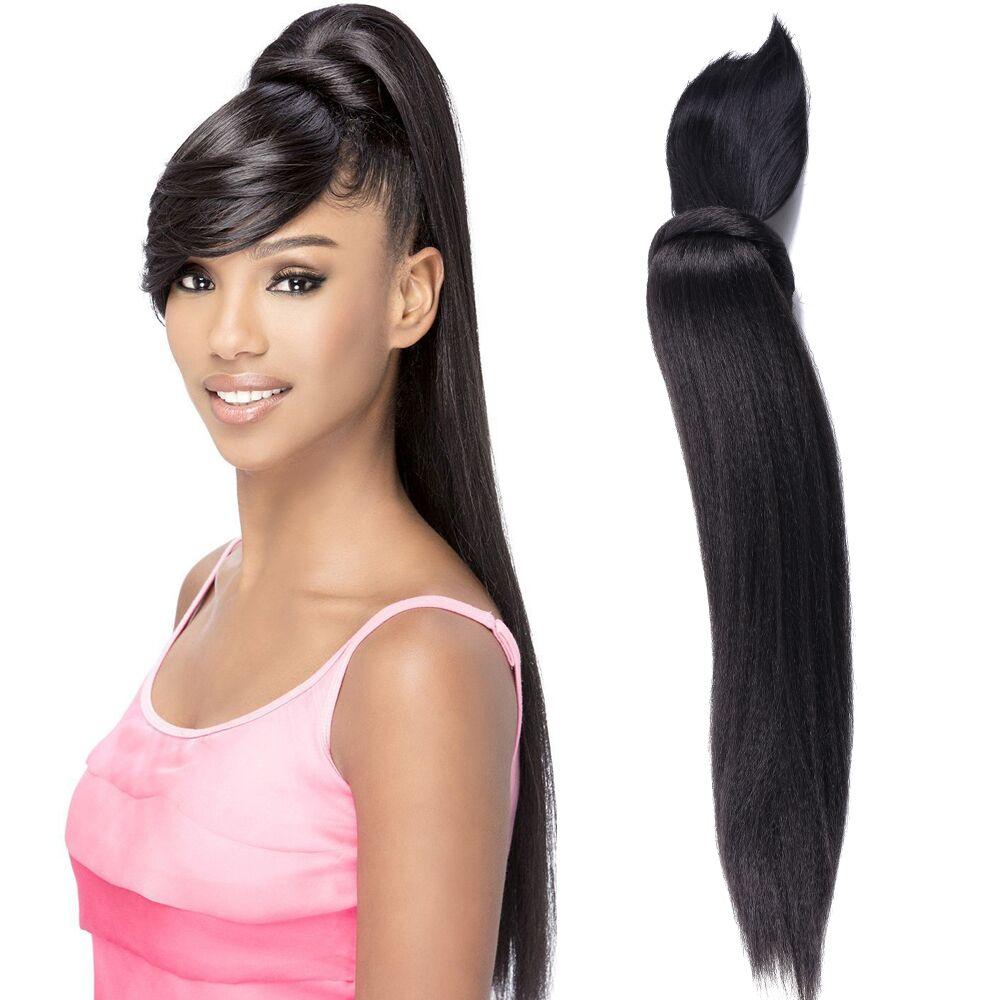 Длинные кудрявые прямые волосы конский хвост с челкой, накладные волосы пучок и челка, комплект синтетических волос конский хвост для женщи...