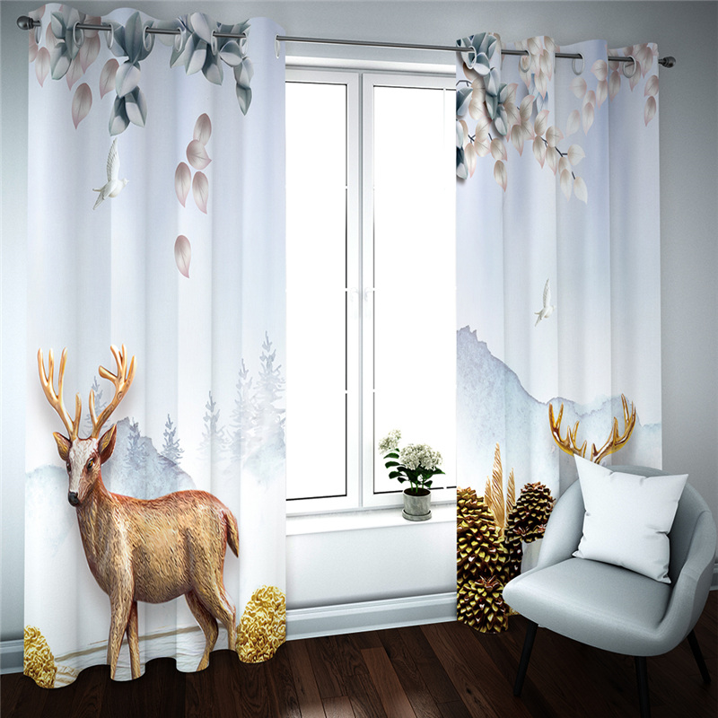 Blackout Luxury Curtains For Living Room Bedroom Modern Fashion Drapes Cortinas Animals Decor Curtain