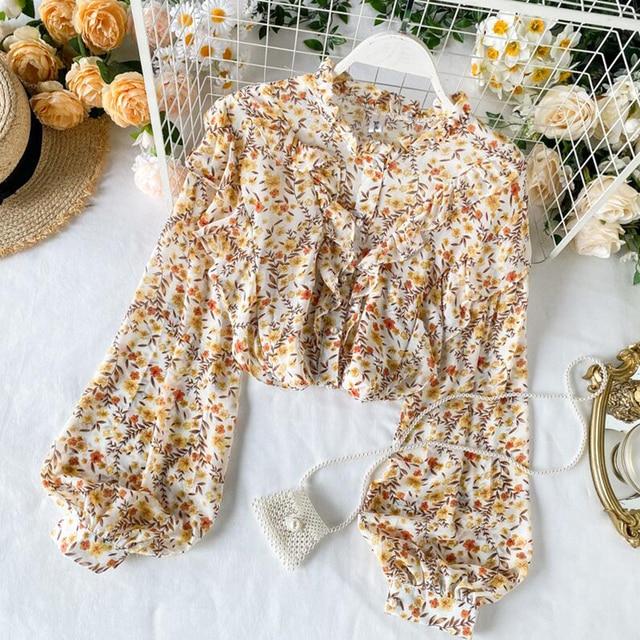 Elegant Sweet ruffle Women Shirt Lantern sleeve Floral print Chiffon Shirts and Blouses 2020 Spring Slim Female blouses Tops 3