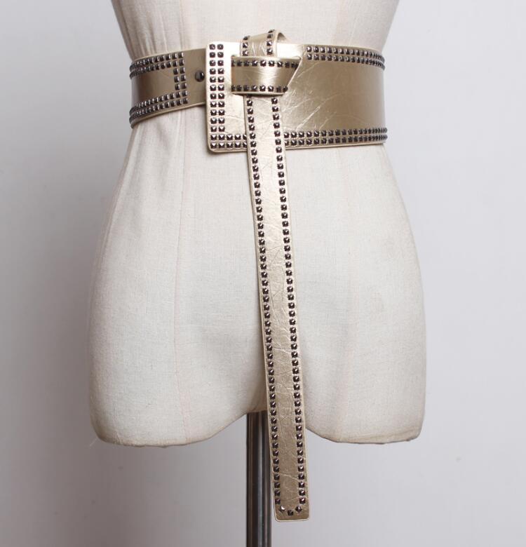 Women's Runway Fashion Rivet Pu Leather Punk Cummerbunds Female Dress Corsets Waistband Belts Decoration Wide Belt R2406