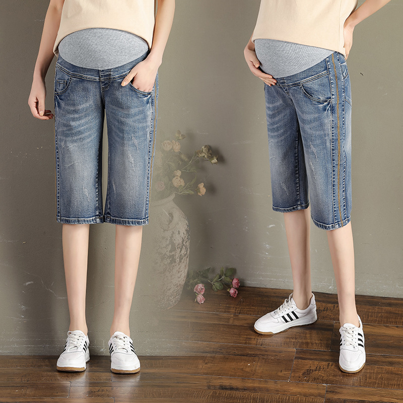 Pregnant Women Shorts Women's Loose-Fit 5 Denim Shorts Women's 2020 Summer Thin Capris Jeans Knee Pants Shorts