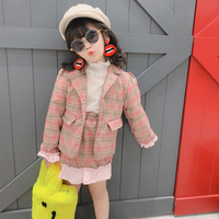 Spring Autumn girls 2 pcs set baby coat + skirt kids suit children fashion clothes plaid check floral bottom patch 3 to 9 yrs