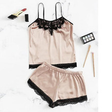 Womens Sexy Satin Lace Pajama Sets 2pcs Bra Cropped Top Shorts Babydoll Sleepwear Pajama Suit Summer Ladies Clothes Underwear cheap hirigin Polyester Solid Spaghetti Strap Sleeveless