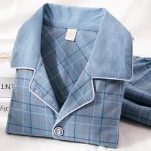 100% Cotton Pijama dành cho Nam 2 Cái Phòng Chờ Đồ Ngủ Pyjamas Kẻ Sọc Mùa Thu Bedgown Nhà Quần Áo Người PJs Cotton Nguyên Chất Bộ Đồ Ngủ bộ