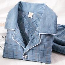 Pijama 100% de algodón para hombre, Pijama de 2 piezas para estar por casa, Conjunto de Pijama de algodón puro para hombre