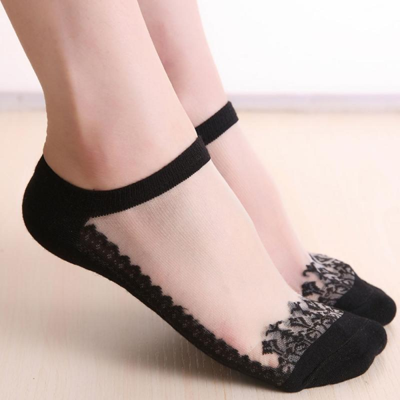 New Thin Short Invisible Breathable Anti-friction Lace Boat Short Tube Ladies Socks Lace High Elasticity Socks