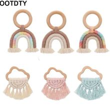 Baby Teether Crochet Wood Rring Rattle Food Grade Wooden Teether Baby
