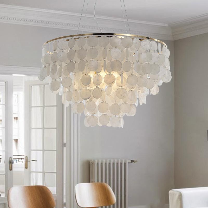 Modern Pendant Light LED Nature White Sea Shell Bulb Aisle Lamp Bedroom Lamp Indoor Home Lighting Light Fixture