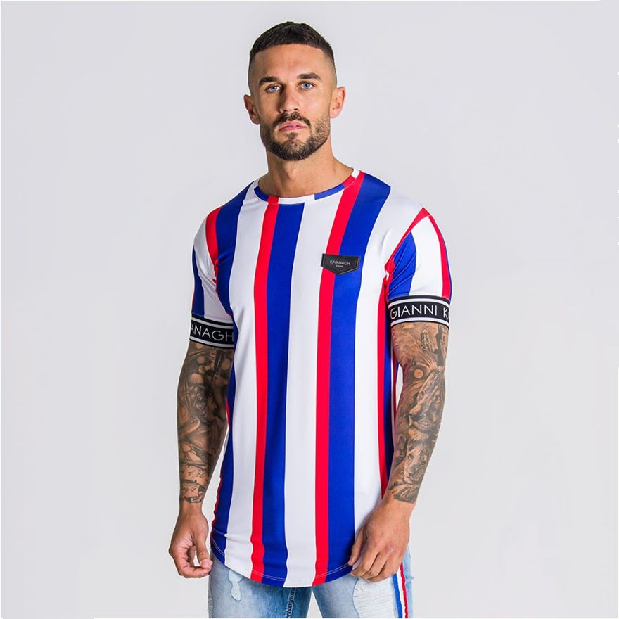 2020 New  Summer  Short Sleeve T Shirt Men Fitness Slim Street Blue T-shirt Sik Silk Gyms Tees Tops Summer Fashion Casual Clothi