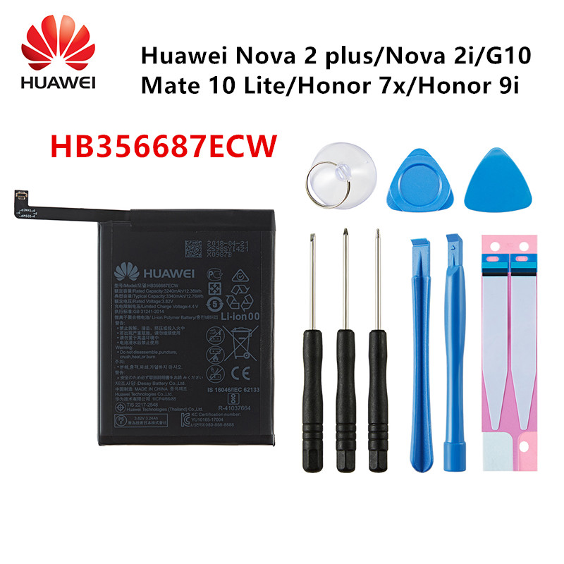 Hua Wei 100% Orginal HB356687ECW 3340mAh Battery For Huawei Nova 2 Plus Nova 2i Huawei G10/Mate 10 Lite/ Honor 7x/9i +Tools