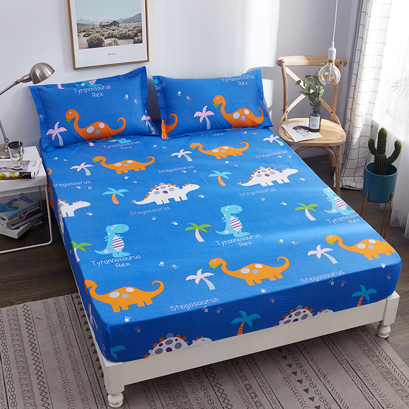 Boys Cartoon Blue Dinosaur World Printed Bed Sheet with Elastic Band 1pc 100% Cotton Fitted Sheet Queen Mattress Protector Cover