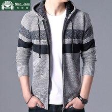 Brand Autumn Winter Sweatercoat Men Thick Warm Hooded Cardigan Sweater