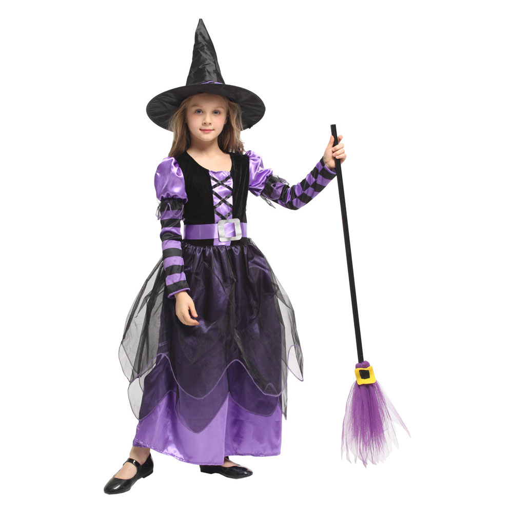 Umorden Halloween Witch Costume Children Kids Witch Girl Cosplay for Girls Purim Carnival Party Mardi Gras Costumes Fancy Dress