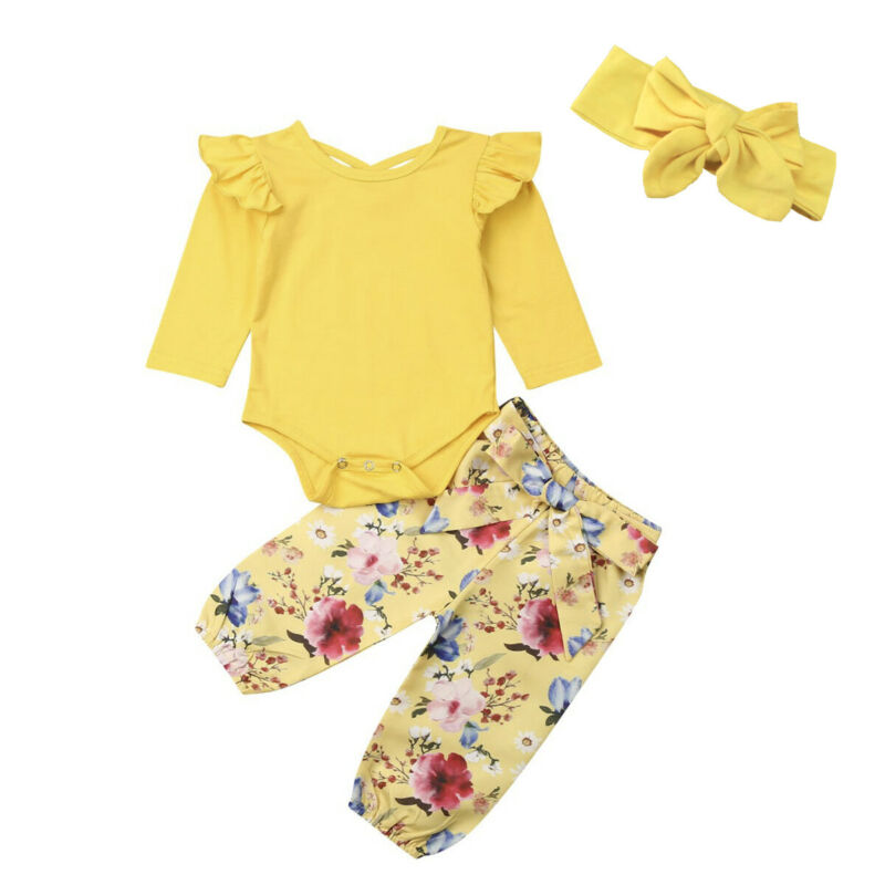 Nweborn Kid Baby Girl Clothes Flying Sleeve Tops Romper Flower Long Pants Princess Outfit Set