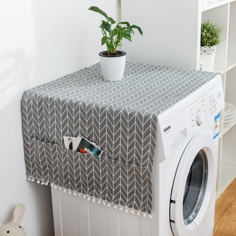Linen Gray Geometric Refrigerator Cover Single Door Dust Cover Garden Double Open Drum Washing Machine Towel Cloth Household