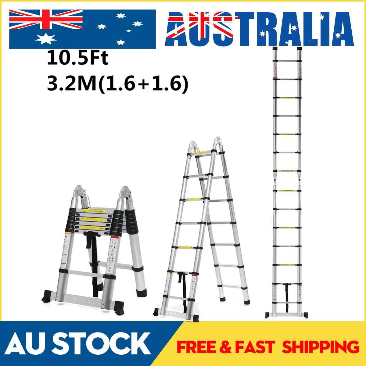3.2m 10.5Ft Folding Ladder Aluminium Telescopic Ladders Dual-Use Herringbone Ladder Multifunctional Single Extension Tools